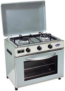 Hornillo a Gas GLP Baby Cocina para exterior Ideal para Camping o jardín Horno y Cocina 2 Fuegos Made in Italy