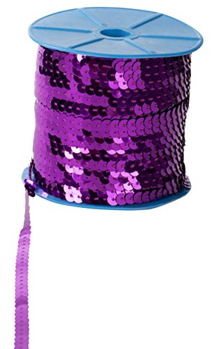 (Paillettes Sequins Roll - 6mm Flat Sequin Trim, Sequin String Ribbon Roll for Crafts, DIY Projects, Embellishments, Costume Accessories, Purple, 100 Yards)