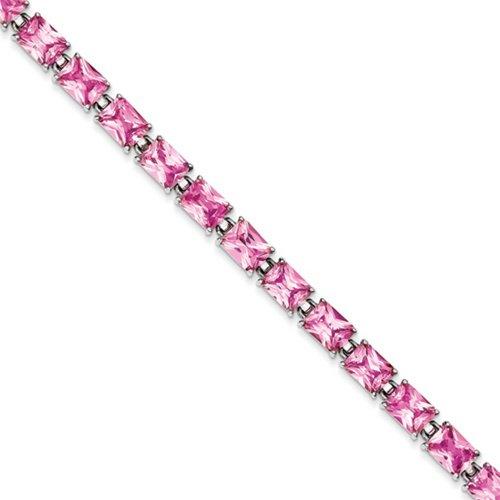 Icecarats Créatrice De Bijoux En Argent Sterling 7.5Inch Cz Rose Bracelet En 7,5 Pouces
