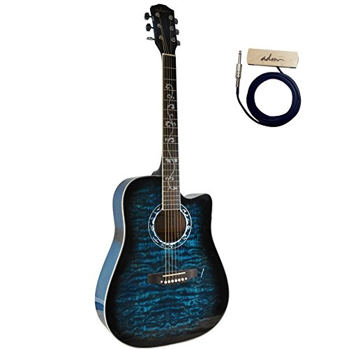 buy adm 41 inch full size dreadnought cutaway acousitc guitar with soundhole pickup blueburst. Black Bedroom Furniture Sets. Home Design Ideas
