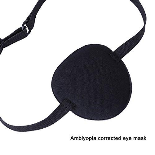 iiniim Adult Kid's Adjustable Soft and Comfortable Pirate Eye Patch Single Eye Mask for Amblyopia Lazy Eye Black One Size
