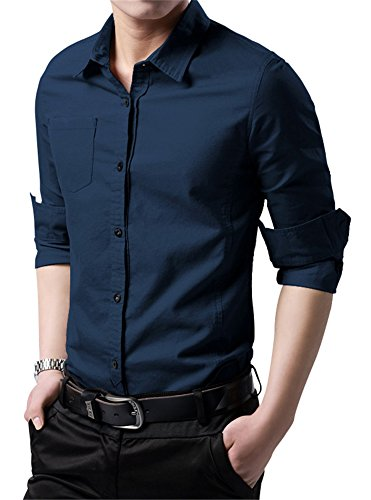XTAPAN Men's Cotton Slim Fit Casual Long Sleeve Button Down Shirt Navy Blue XL