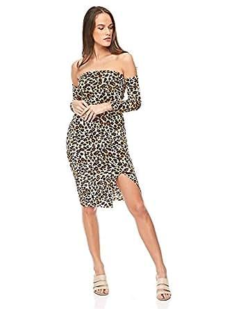 Diva London Velvet Leopard Print Top and Skirt - XS, Brown