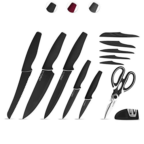 Chef Grids Super Grip Knife Set with Knife covers, Multi-Purpose Kitchen Scissor and Two Stage Sharpener | 12-piece Non Stick Kitchen Knives set, Black