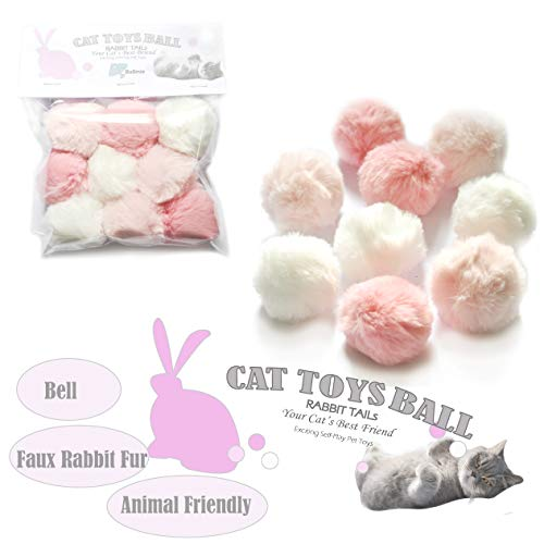 BALLMIE Cat Toys Furry Ball with Bell for Cats Kitty Rabbit Tails (Pink (with Bell)) ()
