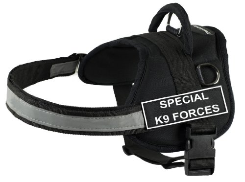 (DT Works Harness, Special K9 Forces, Black/White, Medium - Fits Girth Size: 28-Inch to 38-Inch)