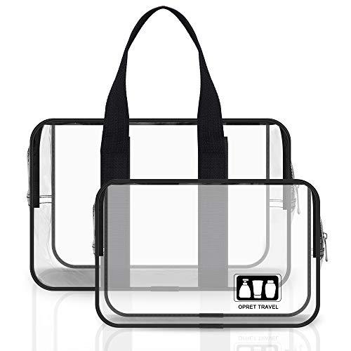 Bolsas de Aseo Transparente, Opret 2 Pcs Neceser de Viaje Avión Impermeable PVC Cosmético Organizador para Hombre y Mujer