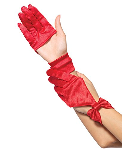 Leg Avenue 3737 Women's Satin Cut Out Glove With Bow Wrist Detail - Red - One Size