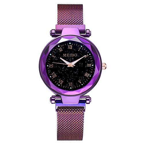 LUXISDE Watch Women Fashion Starry Sky Flat Glass Quartz Mesh with Magnetic Buckle Ladies Watch Purple