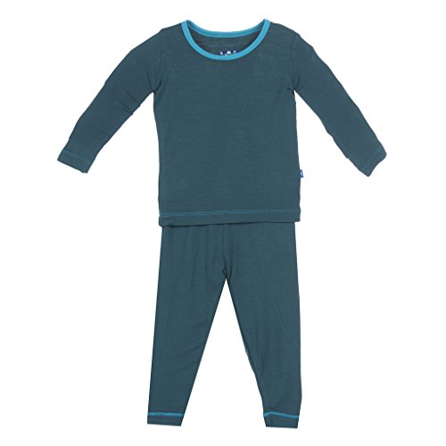 KicKee Pants Little Boys Long Sleeve Pajama Set, Pine with Bay Trim, 18-24 Months