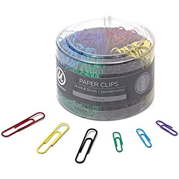 U Brands Paper Clips, Medium 1-1/8-Inch and Large 2-Inch Sizes, Assorted Colors, 450-Count