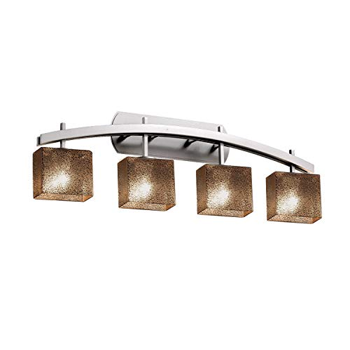 Justice Design Group Lighting FSN-8594-55-MROR-NCKL Justice Design Group - Fusion - Archway 4-Light Bath bar - Rectangle - Brushed Nickel Finish with Mercury Glass Shade,