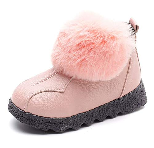 - Fancyww Winter Boots Boy Girl Soft Warm Shoes Toddler Fur Ball Snow Boots (Toddler/Little Kid/Big Kid)(Pink-36/4 M US Big Kid)