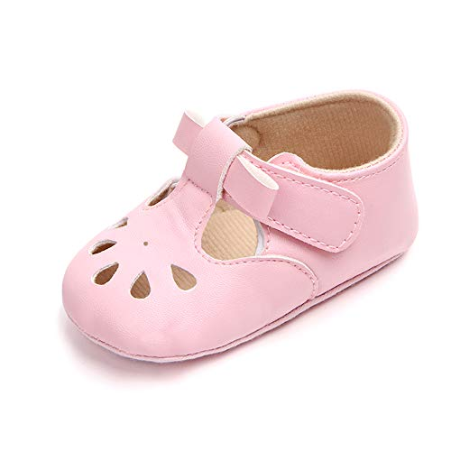 Enteer Baby Girls' Retro Leather Hollow Mary Jane Shoes Pink US 3