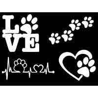 Paw Decals: Dog Paws, Love with a Paw, Paw Heartbeat, Paw Prints