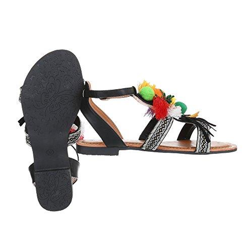 Ital negro Design Mujer de Tira tobillo WBw1YqBnS