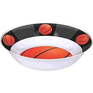 """Basketball Dream Birthday Party Bowl Tableware, 1 Piece, Made from Plastic, Black/Orange, 13"""" by Amscan"""
