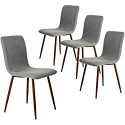 Coavas Kitchen Dining Chairs Set of 4 Fabric Cushion Side Chairs Sturdy Metal Legs Home Kitchen Living Room Table, Grey
