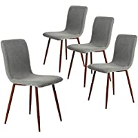 Coavas Set of 4 Kitchen Dining Chairs Fabric Cushion Side...