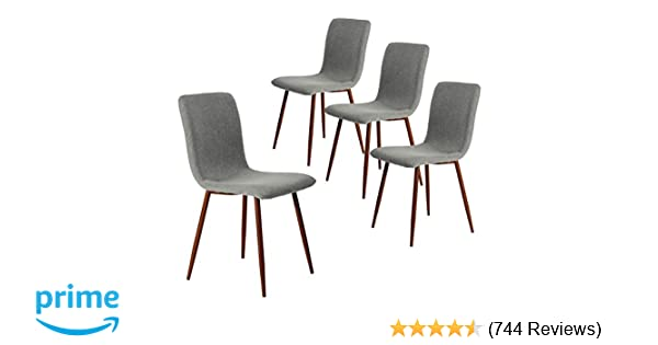 Amazon.com - Coavas Set of 4 Kitchen Dining Chairs Fabric Cushion Side  Chairs with Sturdy Metal Legs for Home Kitchen Living Room c530fb22f
