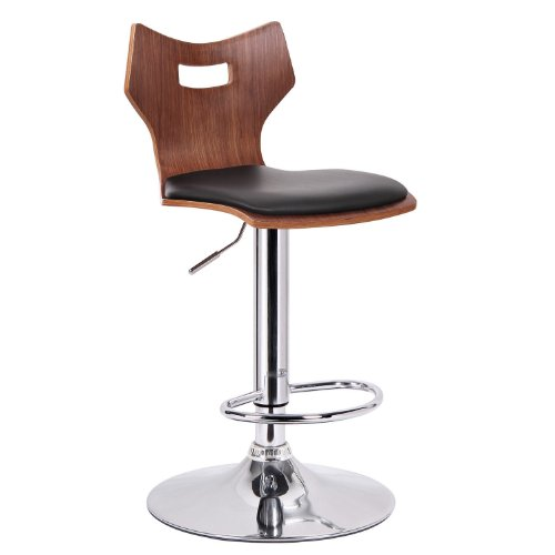 Modern Bar Walnut Stool - Baxton Studio Amery Walnut and Black Modern Bar Stool, Set of 2