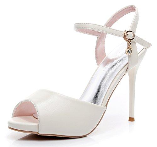 - Melesh Women Girls Platform Dress Peep Toe High Heeled Pumps Sandals (8 B(M) US - EU39, White)
