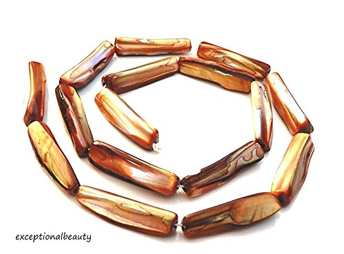 16 Burnt Sienna Brown 1 Inch Mother of Pearl MOP Rectangle Stick Column Beads
