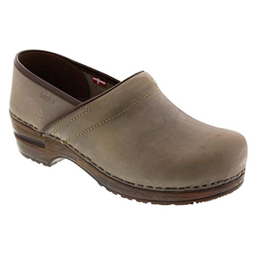 Sanita Women's Professional Gabriella Oiled Vintage Leather Clog (Factory 2nd) (Color: Grey/Size: 40 - Sanita Clogs Oiled