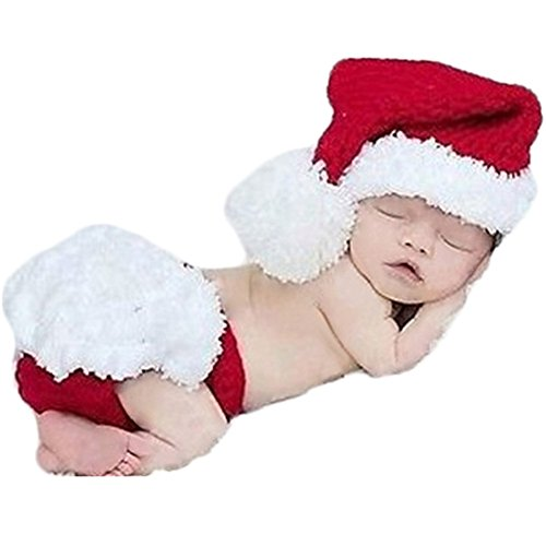 Baby Photography Props Christmas Outfits Newborn Boy Girl Photo Shoot Costume Crochet Knitted Santa Hat Shorts Red