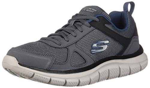 (Skechers Men's Track Scloric Oxford, Gray/Navy, 7.5 2E US)