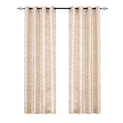 (Swirl Embroidered Curtains for Bedroom 95 inches Long Faux Silk Semi Sheers Embroidery Window Curtain for Living Room Drapes Grommet Top 2 Panels Ivory)