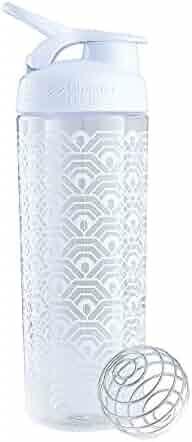 BlenderBottle SportMixer Signature Sleek Shaker Bottle, Clamshell White, 28-Ounce