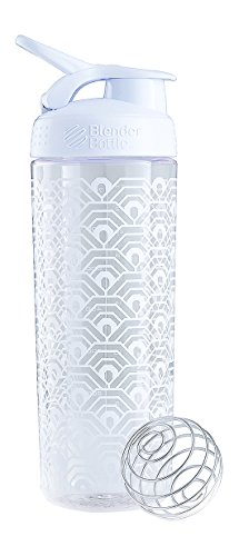 BlenderBottle SportMixer Signature Sleek Shaker Bottle, Clamshell White, 28-Ounce