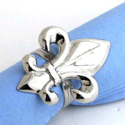 - Nickel Fleur de Lis Napkin Ring. - Set of 4