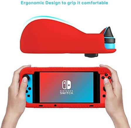 Teyomi - Carcasa de Silicona para Nintendo Switch (Incluye Protector de visualización de Vidrio Templado), Rojo 4