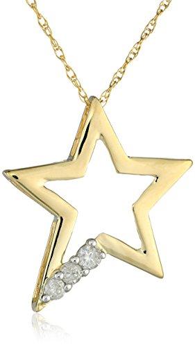10k Yellow Gold Three Stone Diamond (1/10cttw, I-J Color, I2-I3 Clarity) Star Pendant Necklace