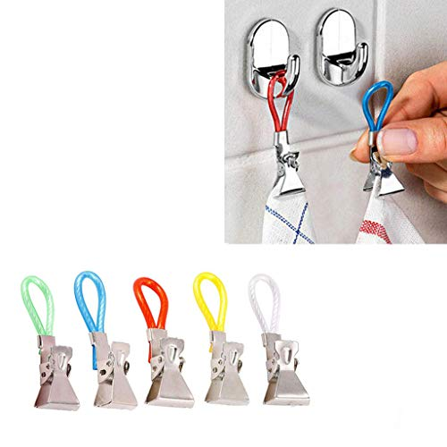 m·kvfa 5Pcs Multifunction Peg Clips Durable Tea Towel Hanging Clips Clip On Hook Loops Hand Towel Hangers for Home Kitchen Bathroom - Sunglasses Electric Valence