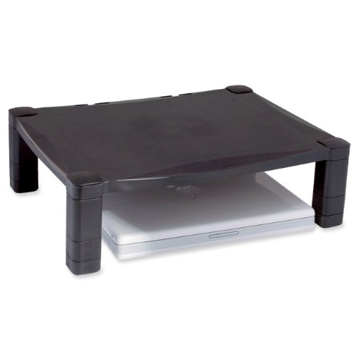 Kantek Single Level Height-Adjustable Monitor Stand, 17 x 13 1/4 x 3 to 6 1/2 Inches, Black (MS400), Office Central