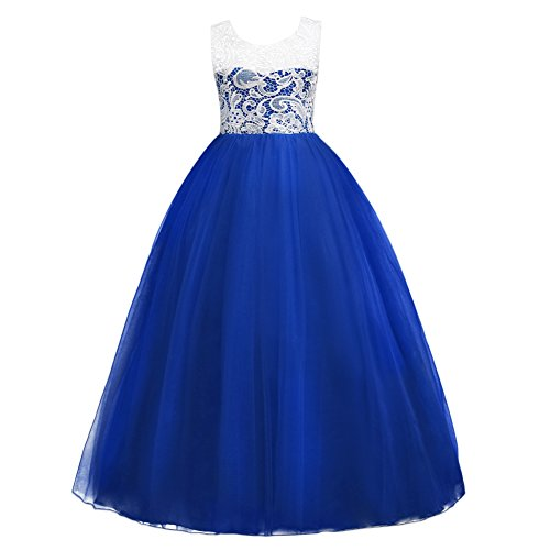 5-16T Little Big Girls Floor Length Lace Tulle Bridesmaid Dress Flower Wedding Pageant Party Prom Long Maxi Evening Dance Gown Royal Blue