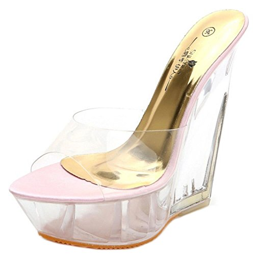Wedges Women 14 Heel 1 Zanpa Fashion Mules Pink cm qSpn4