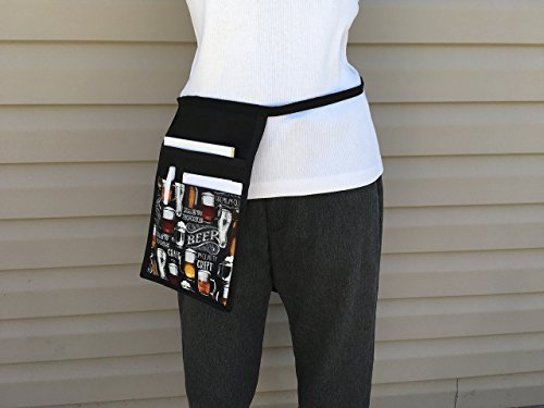 Black I pad, Hip Side Apron I Pad money Pouch Waitress pockets. Check out all 51 prints @(Handmade Janet aprons) BEER Restaurant Bars Cafes Janet's Aprons