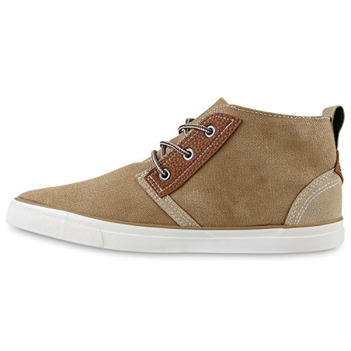 Herren Sneaker High Basic Turnschuhe Leder-Optik Schuhe Freizeitschuhe  Schnürer Schnürschuhe Flandell Khaki Bexhill ...