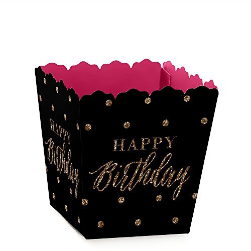 Chic Happy Birthday - Pink, Black and Gold - Party Mini Favor Boxes - Birthday Party Treat Candy Boxes - Set of -