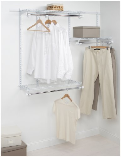 Top Rail Shelving (Rubbermaid Configurations Custom Closet Starter Kit, White, 3-6 Foot, FG3E2402WHT)