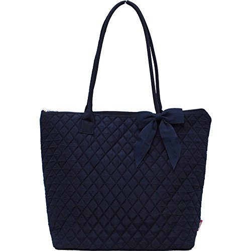 Navy Solid Color NGIL Quilted Tote Bag (Handbag Top Quilted Zipper)