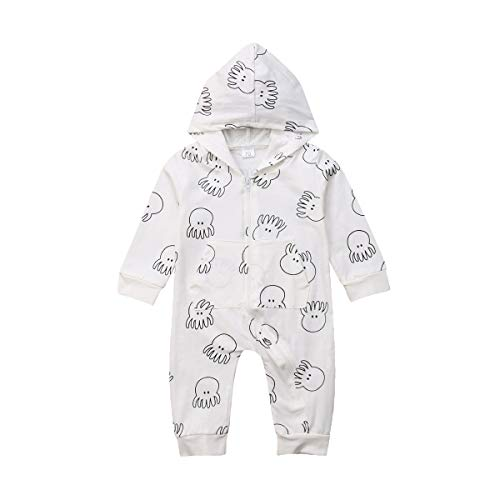 remeo suit Baby Octopus Print Hooded Romper Outfits Cotton Zipper Pajama Sleeper (0-6Months) -