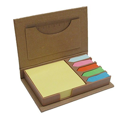 Mega Stationers Colored Sticky Note Set and Organizer, Square Notes and Index Flags in A Compact Little Box for Home Office School Use, Great Teacher's Gift