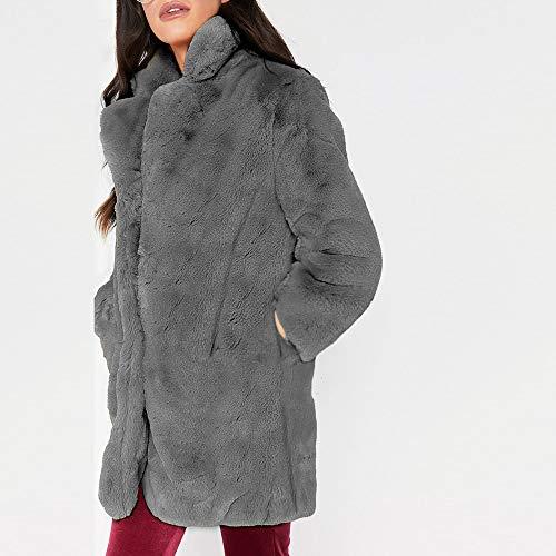 Chic Cardigan grande Femme Long Parka Hiver Sweatshirt Chaud Avec Épais Fourrure Veste Millenniums Gris Fausse Manches S~3xl Outwear À Longues En Manteau Poche Taille OtqdRf