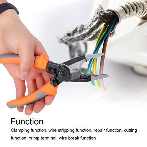8インチプライヤー、クロームバナジウム鋼+ PVC多機能電気技師ツールハードウェアツール、クランプ機能、ワイヤーストリップ機能、修理機能