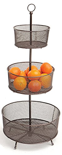 Amazon.com: Espresso Mesh Helix 3-Tier Round Wire Fruit Basket, 31.5